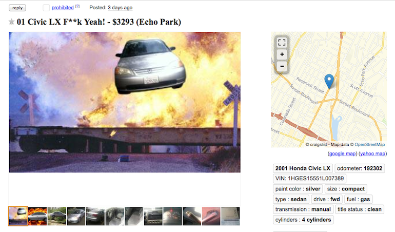 Hilarious Used Car Posting Funny Craigslist