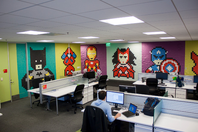 An Employee Who Was Sick Of Looking At His Drab Office Walls Decided To  Spruce Them Up With Some Imaginative Superhero Artwork, Created Using  Nothing More ...