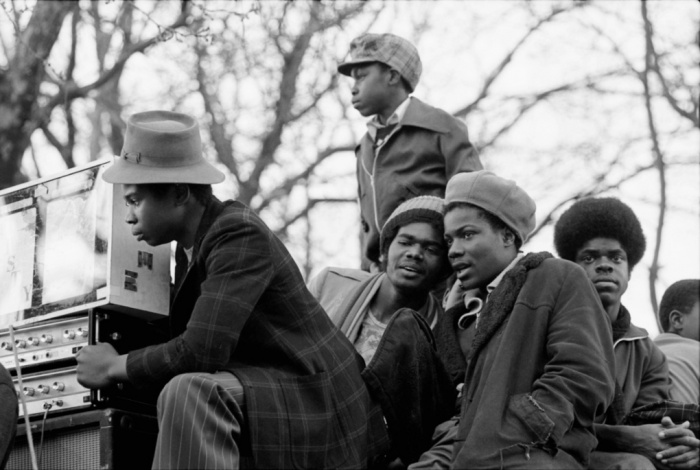Crowd listening to a sound system in Victoria Park London, 1980