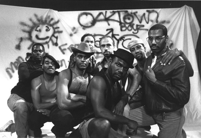 Marlon Riggs and cast in still from classic 1989 documentary Tongues Untied, about the lives of black gay/same-gender loving men.