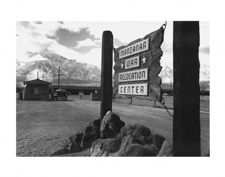 Ansel Adams, Entrance to Manzanar , 1943. Gelatin silver print (printed 1984). Private collection;; courtesy of Photographic Traveling Exhibitions.