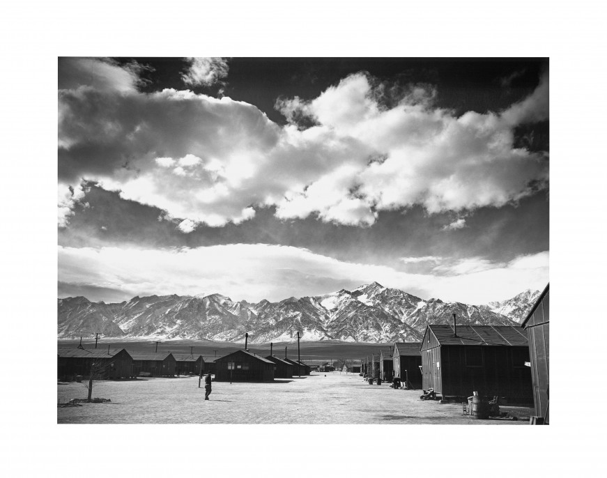 Ansel Adams, Manzanar Street Scene, Spring , 1943. Gelatin silver print (printed 1984). Private collection;; courtesy of Photographic Traveling Exhibitions.