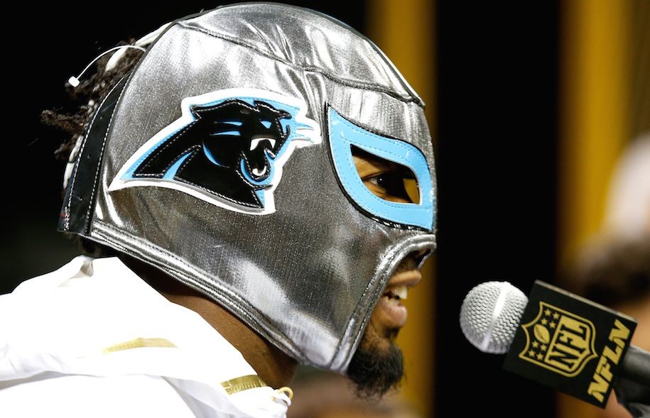 Is Josh Norman screaming 'giddy up!'? Drink. (Photo by Ezra Shaw/Getty Images)