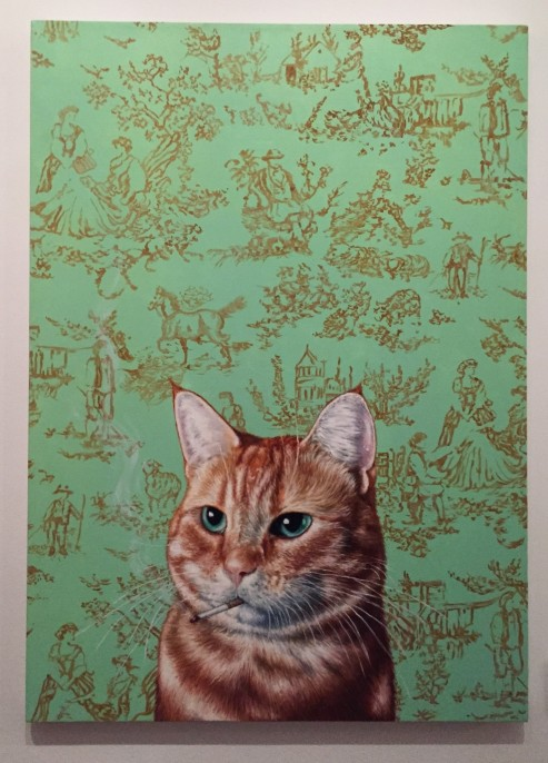 "Michael Caines, ""Smoking Cat"" (2016). Oil on canvas."