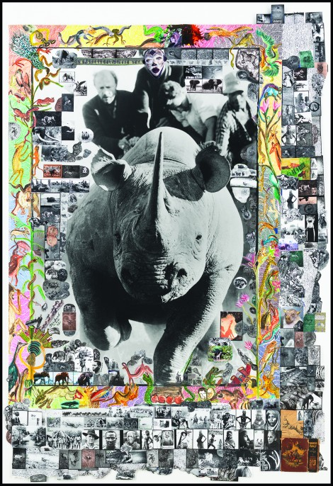 """Roping Rhinos with Ken Randall in Hunting Block 29, 1964/2015 Gelatin silver print with archival digital print collage, paper ephemera, watercolor, colored ink 63 x 42 1/4"""""""