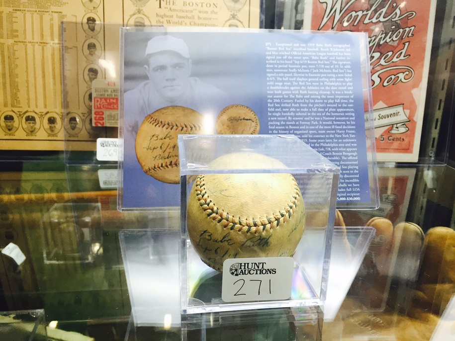 A ball signed in 1919 by Babe Ruth sold for $63,250