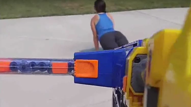 man shoots wife nerf guns