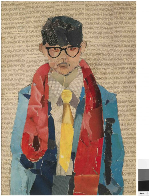 "David Hockney. ""Self Portrait"" 1954. Collage on newsprint. 16 1/2 x 11 ¾ © David Hockney. Photo Credit: Richard Schmidt"