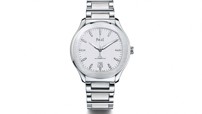 The Piaget Polo S comes in a blue, grey or silver dial. Photo courtesy of Piaget.