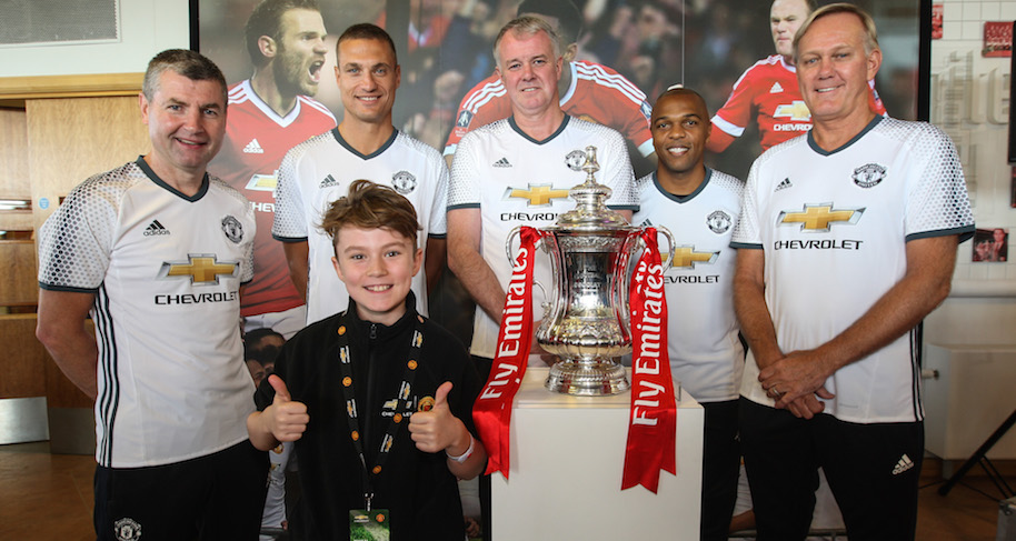 Photographs © Copyright by Julian Andrews. Eye R8 Productions Ltd. 2015. 22/09/2016. Manchester, England Chevrolet Mascot Moment 2016. Day 3. Chevrolet Mascots 2016 pictured with the FA Cup and Legends at Carrington