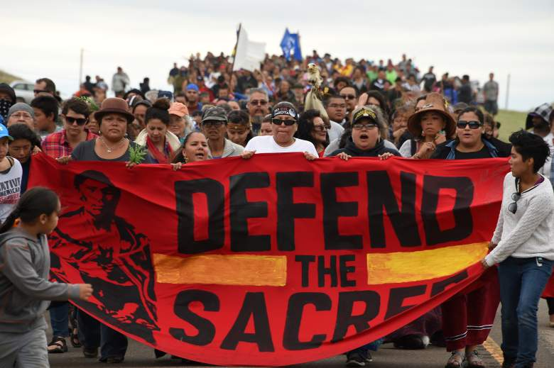 Native Americans march to a burial ground sacred site that was disturbed by bulldozers building the Dakota Access Pipeline on September 4 near Cannon Ball, North Dakota. (Getty)