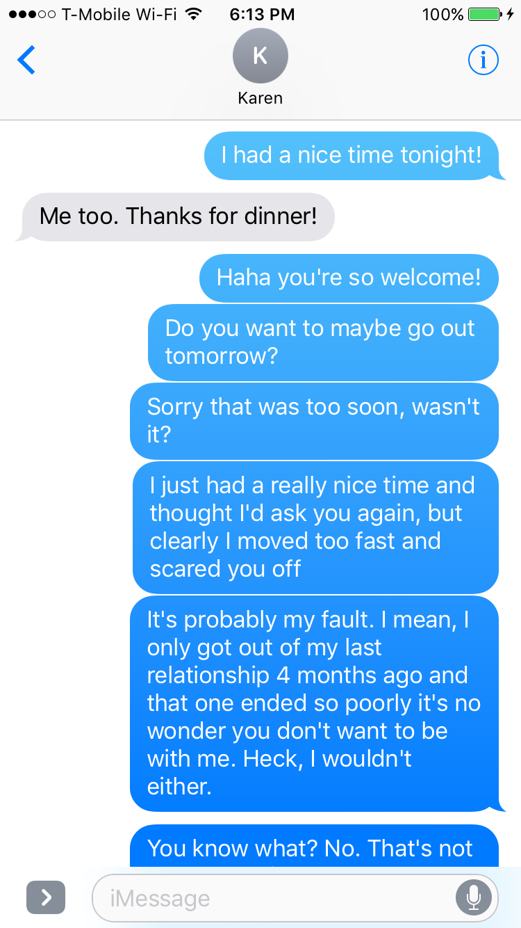 Text after first date examples