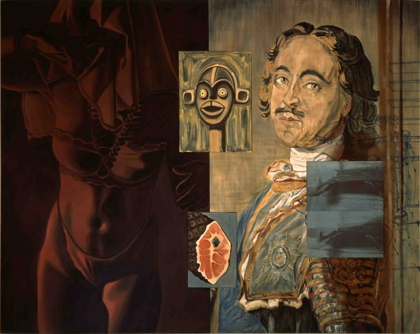David Salle (b.1952), Young Krainer, 1989, diptych - acrylic and oil on canvas with three inserted panels 84 x 104 1/2 in. (213.4 x 265.4 cm.) 86 1/8 x 106 1/4 x 3 in. (218.7 x 270 x 7.5 cm.) framed Art © David Salle/Licensed by VAGA, New York, NY. Courtesy of the artist and Skarstedt.