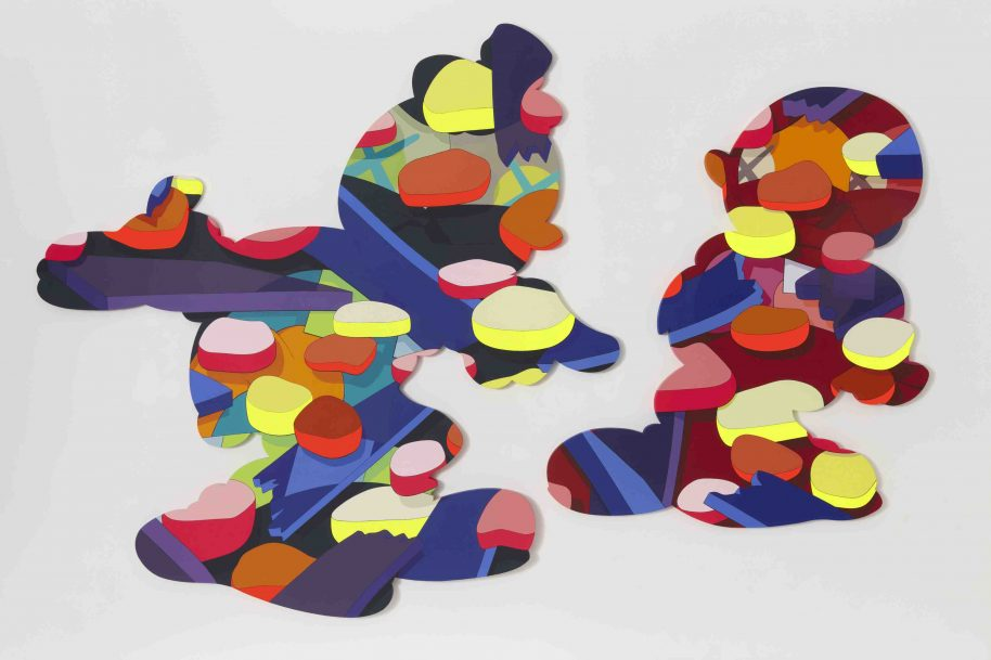KAWS. PASS THE BLAME, 2013. Acrylic on canvas. Unframed: 120 × 196 × 1 3/4 in. (304.8 × 497.84 × 4.45 cm)