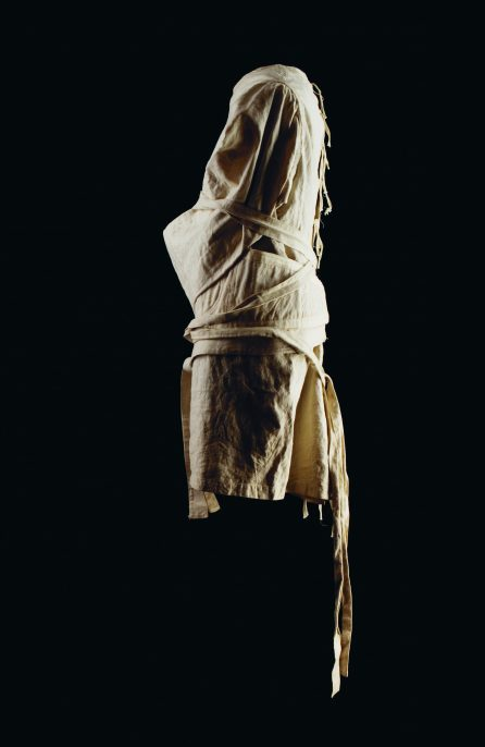 """From a photographic project by Jane Fradgley titled """"Held."""" These images depict two types of restraining garments worn by patients in London County Asylums. Fradgley said of the clothing: """"I was fascinated by the aesthetic considerations possibly intending to protect and care for the wearer whilst maintaining their dignity."""" © Jane Fradgley"""