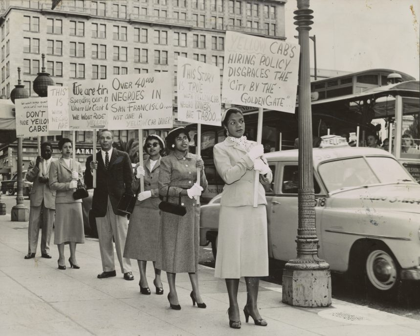"COX STUDIO, SAN FRANCISCO, CA, 1955. Washington, DC, Library of Congress, Prints and Photographs Division, Visual Materials from the NAACP Records San Francisco NAACP members during a ""Don't Ride"" campaign urging riders to boycott Yellow Cab and help stop hiring discrimination."
