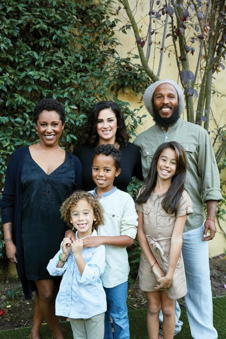 Back row (l-r): Karen Marley (sister), Orly Marley (wife), Ziggy Marley. Front row (l-r): Abraham, Gideon, Judah.