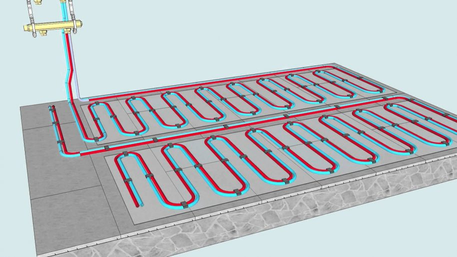 ContraFlow's water underfloor heating system. Photo courtesy of ContraFlow