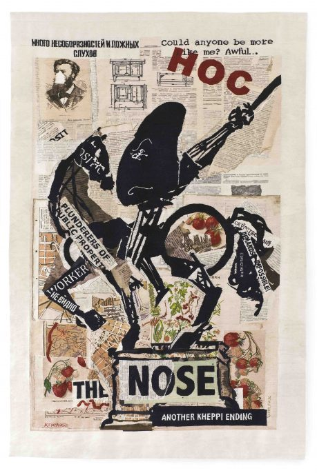 William KENtridge, The Nose (with Strawberries) 2012, Tapestry weave with embroidery Warp: polyester Weft and embroidery: mohair, acrylic and polyester 340x230cm Woven by the Stephens Tapestry Studio