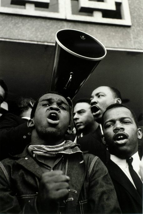 Steve Schapiro (American, born 1936), Andrew Young, Martin Luther King Jr., and John Lewis, Selma, Alabama, 1965, gelatin silver print. High Museum of Art, Atlanta, purchase with funds from the H.B. and Doris Massey Charitable Trust, 2007.219.