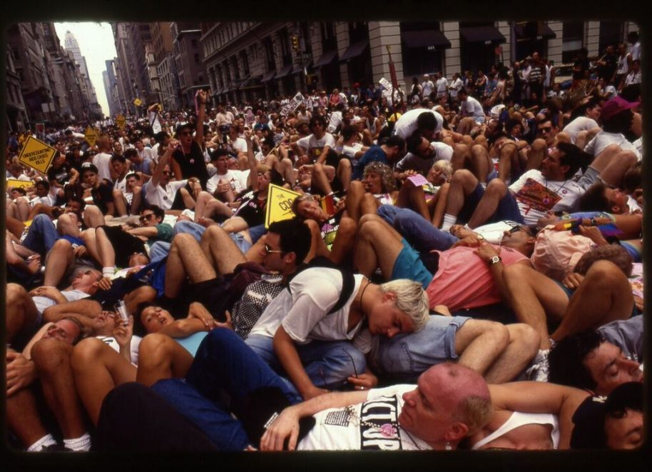 ACT UP die-in at the LBGT Pride Parade on 5th Avenue. June, 1991. © Donna Binder