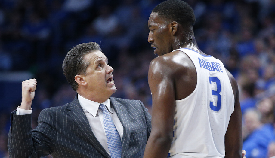 Bam Adebayo #3 of the Kentucky Wildcats listens to head coach John Calipari during the game against the LSU Tigers at Rupp Arena on February 7, 2017 in Lexington, Kentucky. Kentucky defeated LSU 92-85. (Photo by Joe Robbins/Getty Images)