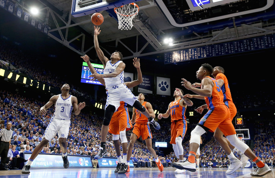 Malik Monk #5 of the Kentucky Wildcats, and likely lottery pick, goes in for a tough layup against the Florida Gators. (Photo by Andy Lyons/Getty Images)