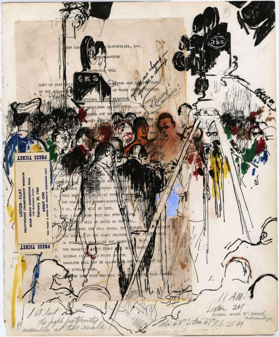 LeRoy Neiman, Liston and Clay Weigh-In, February 24, 1964. Mixed media and collage on paper. Courtesy LeRoy Neiman Foundation