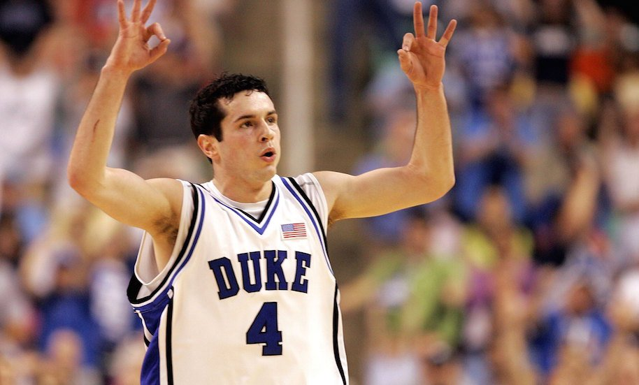 J.J. Redick #4 of the Duke Blue Devils reacts after making a three-point basket against the Boston College Eagles during the finals of the Atlantic Coast Conference Men's Basketball Tournament on March 12, 2006 at the Greensboro Coliseum in Greensboro, North Carolina. (Photo by Streeter Lecka/Getty Images)