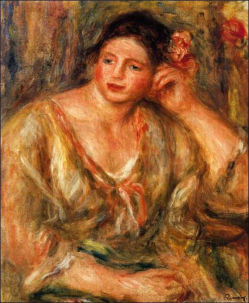 Pierre-Auguste Renoir, Madeleine Leaning on Her Elbow with Flowers in Her Hair