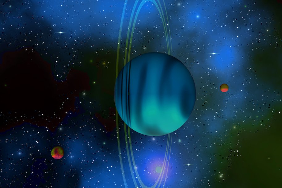 Uranus is the seventh planet from the sun in our solar system and has several rings and moons.