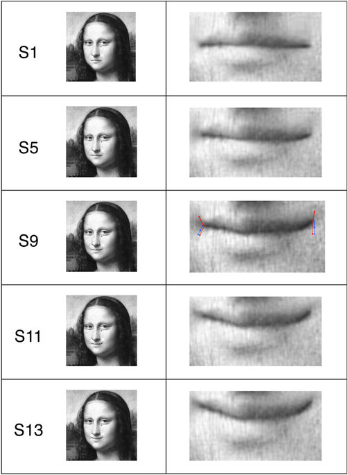 Depicted are five Mona Lisa's variants25 (left column, S1, S5, S9, S11 and S13, created in Dr. Kornmeier's lab) and the enlarged corresponding mouth regions (right column).