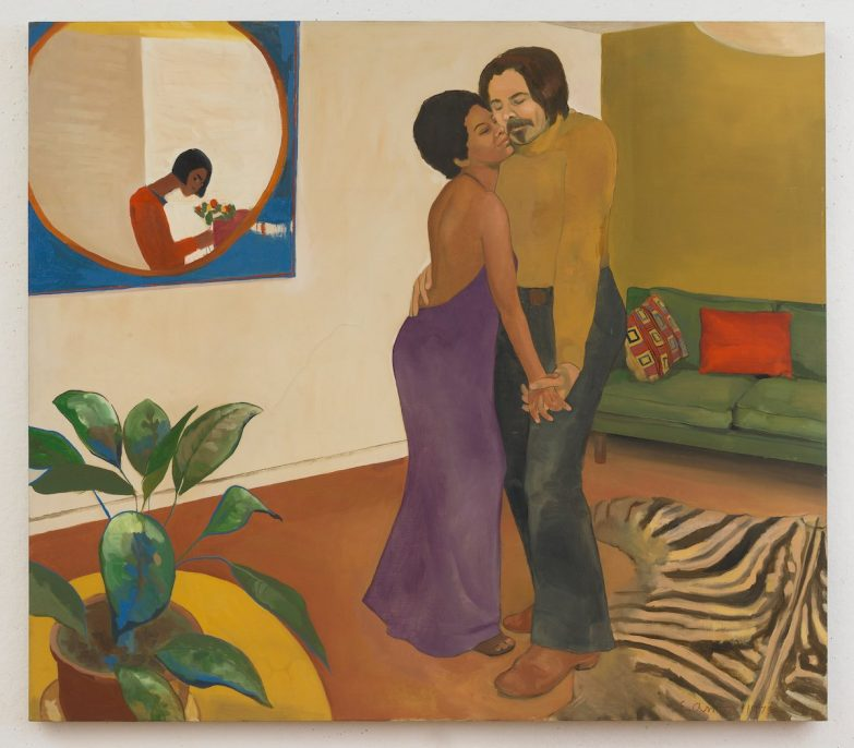 Emma Amos (America, born 1938). Sandy and Her Husband, 1973. Oil on canvas. Courtesy of Emma Amos. © Emma Amos; courtesy of the artist and RYAN LEE, New York. Licensed by VAGA, New York.