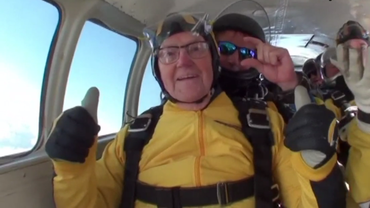 old man skydiving record