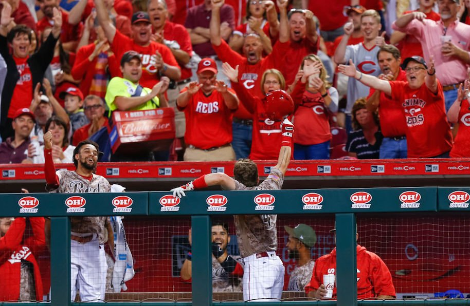 CINCINNATI, OH - MAY 06: Scooter Gennett #4 of the Cincinnati Reds acknowledges the crowd after hitting his third home run in the eighth inning against the St. Louis Cardinals at Great American Ball Park on June 6, 2017 in Cincinnati, Ohio. (Photo by Michael Hickey/Getty Images)