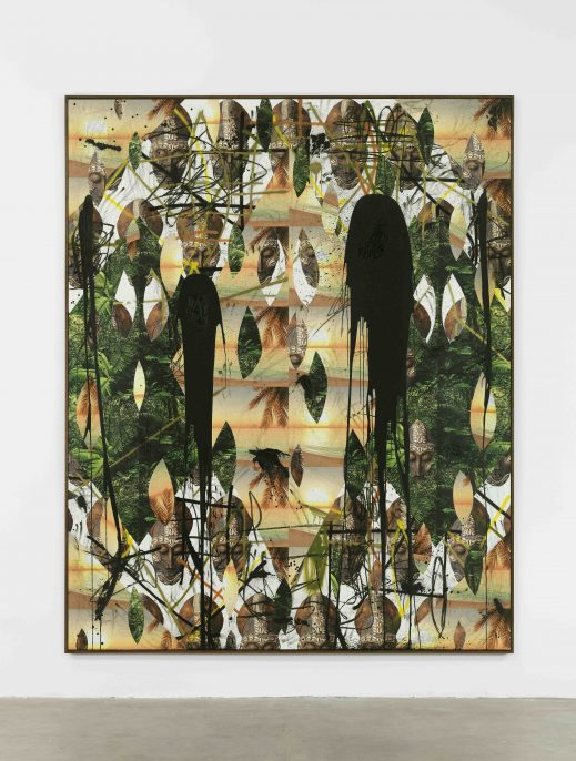 JOHNR81942.jpg Rashid Johnson. Untitled Mask Collage, 2017, Vinyl, spray enamel, oil stick, black soap, and wax. 305 x 244 x 5 / 120 1/8 x 96 1/8 x 2 in.