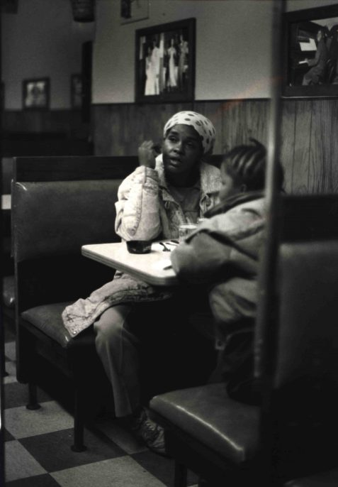Ming Smith. Lady and Child (From the August Wilson Series), c. 1993. Vintage gelatin silver print, printed c. 1993. Courtesy of the artist and Steven Kasher Gallery, New York.