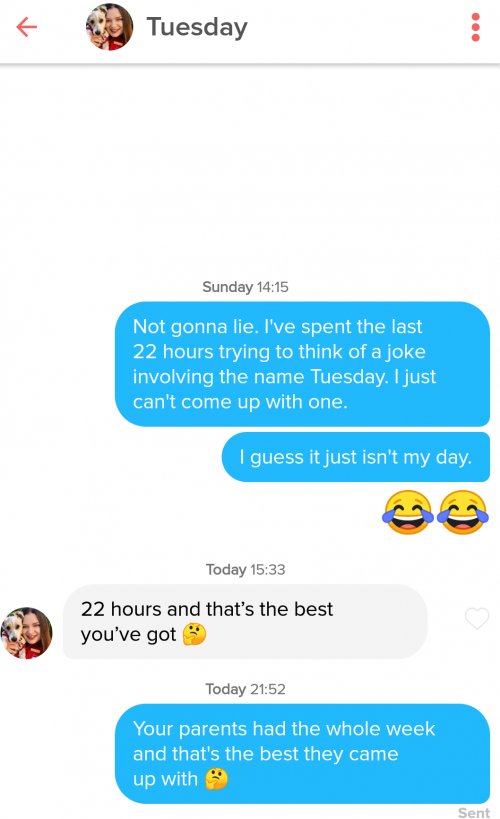 Tinder pick up lines from names