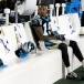 Panthers WR Ted Ginn Jr. stays grounded, onlooking the celebration from the bench as well