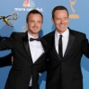 Bryan Cranston (L) and Aaron Paul pose in the press room with their awards for 'Outstanding Lead Actor in a Drama Series' and 'Outstanding Supporting Actor in a Drama Series' for 'Breaking Bad' at the 62nd Primetime Emmy