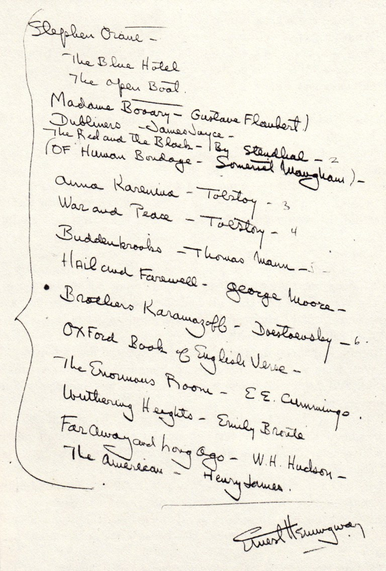 Hemingway's Reading List for Aspiring Writers