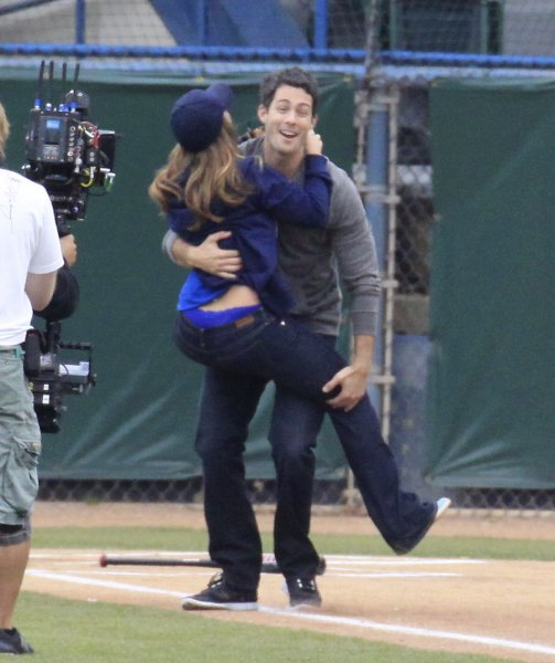 Jennifer Love Hewitt and co-stars, Brian Hallisay and Rebecca Fields, seen filming a baseball scene for 'The Client List' Featuring: Jennifer Love Hewitt,Brian Hallisay Where: Los Angeles, California, United States When: 18 Mar 2013 Credit: Cousart-Shinn/JFXimages/Wenn.com