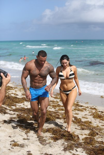 Kelly Brook and boyfriend David McIntosh relax together during their holiday in Miami