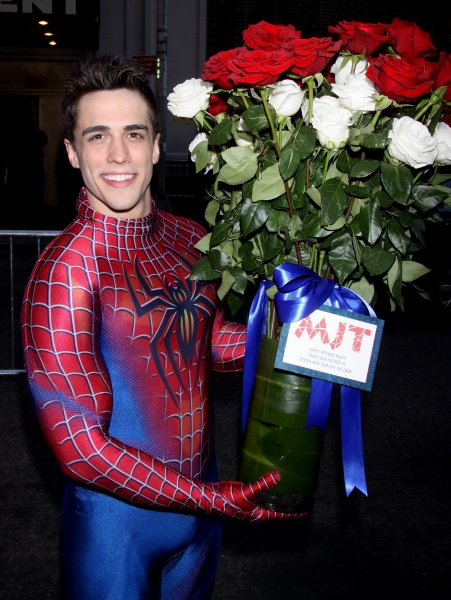 Opening night of the Broadway musical 'Pippin' at the Music Box Theatre - ArrivalsFeaturing: Brett Thielle delivering flowers to Matthew James Thomas from the cast of Spider-Man: Turn Off the DarkWhere: New York, United StatesWhen: 25 Apr 2013Credit: Joseph Marzullo/WENN.com