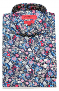Blue & Pink Floral Cutaway Dress Shirt