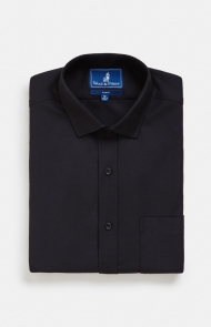 Spread Collar Black Twill Shirt by Wool & Prince