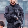 Dominic Cooper Filming Stratton on a barge on the river Thames with fire arms. At one point a stunt man jumps from the barge into a boat.Featuring: Dominic CooperWhere: London, United KingdomWhen: 03 Sep 2015Credit: WENN.com