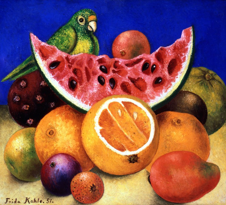 NYBG_Frida_Kahlo_Still_Life_with_Parrot_and_Fruit