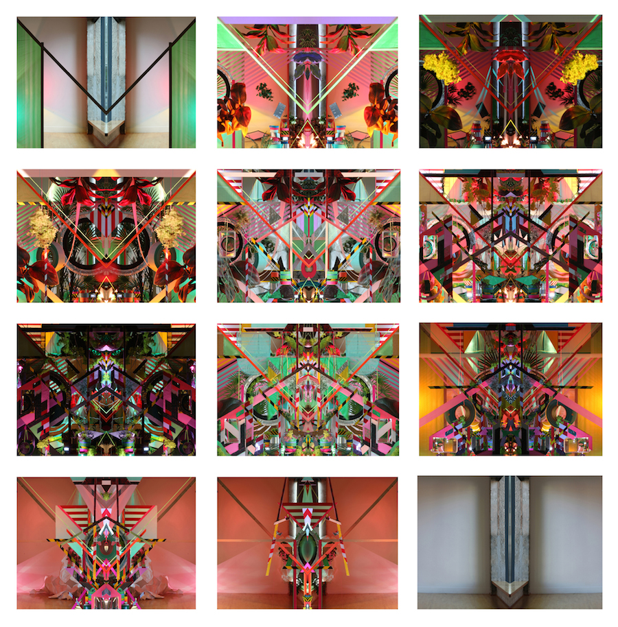 """12 stills from """"Accumulation at 12th & Marion: May 7 - June 19, 2015."""" Stop-motion video, 11:03 minutes, sound design by Michael Dillon, 2015"""