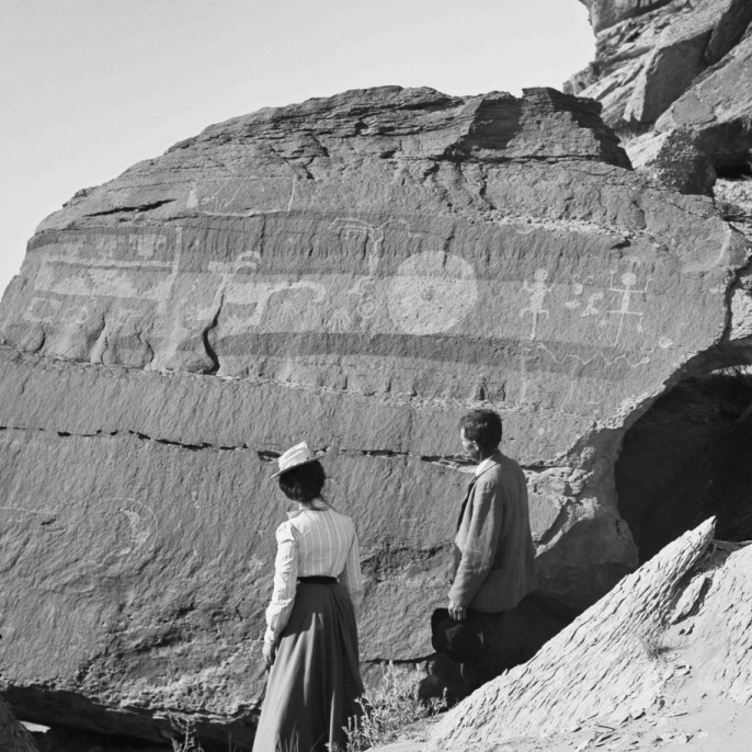 Underwood & Underwood, Pictographs and undeciphered writing of antiquity, near Adamana, Arizona, n.d. Collection of the California Museum of Photography at UCR ARTSblock, The Keystone-Mast Collection